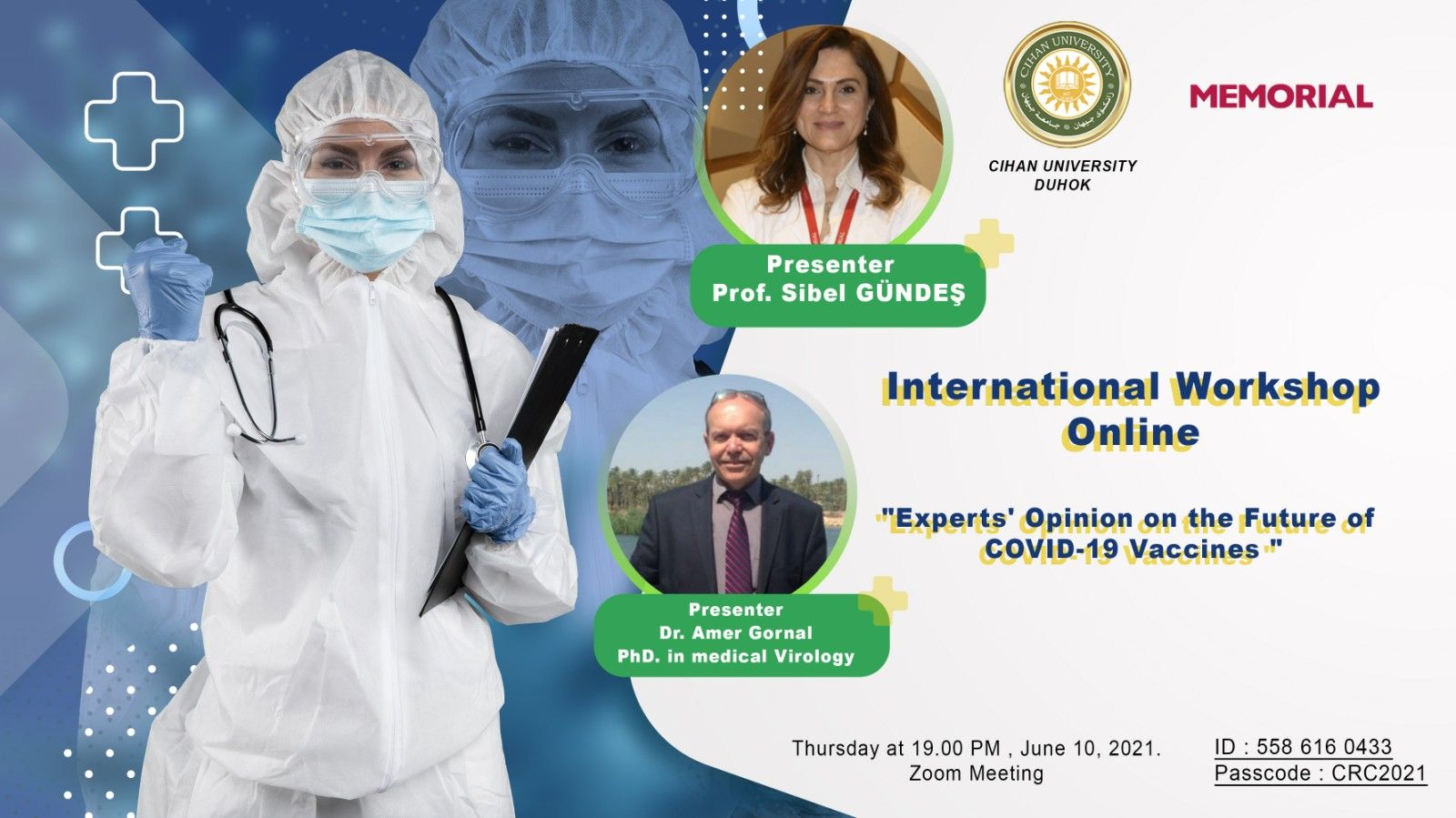 international online workshop entitled (Experts' Opinion on the Future of COVID-19 Vaccines )