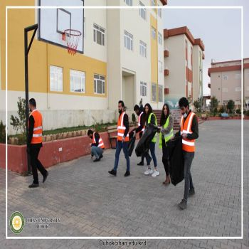 cleaning the university halls and gardens to have better weather and cleaner environment